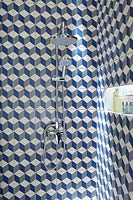 Patterned tiles in shower cubicle