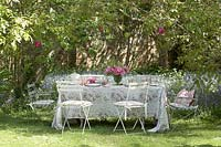 Garden furniture on lawn