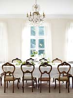 Classic chairs at dining table