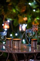 Lights on garden table