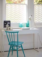Decorative window treatment in study