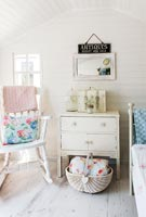 Painted furniture in summerhouse