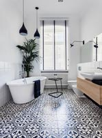 Modern bathroom with tiled floor