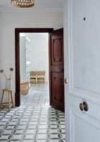 Tiled flooring in hallway