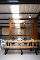 Wood and metal dining furniture