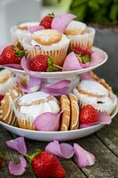 Biscuits and cakes on cake stand