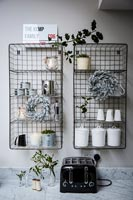 Metal kitchen shelves with christmas decorations