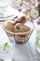 Detail of bread rolls in a basket