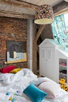 Childrens bedroom with exposed beams