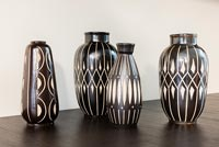 Detail of German pottery vases by Anton Piesche Sgraffito