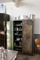 Metal storage cupboard in kitchen