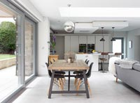 Contemporary open plan kitchen dining area