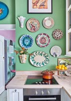 Brightly painted colourful kitchen