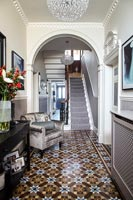 Classic hallway with tiled floor