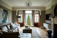 Classic living room with Christmas tree