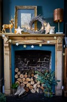 Wooden mantelpiece decorated for Christmas