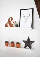 Shelf with ornaments and small pots with cactus
