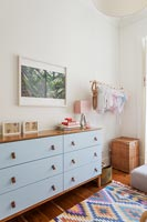 Blue chest of drawers in childrens room