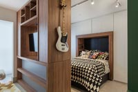 Modern bedroom with built in wardrobes and partition wall
