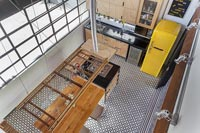 Overhead view of modern industrial kitchen