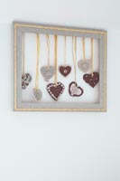 Frame filled with fabric hearts