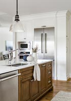 Modern country kitchen with stainless steel appliances