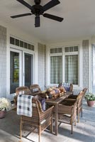 Rattan furniture on covered terrace