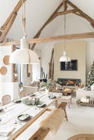Modern country open plan living and dining room at Christmas time