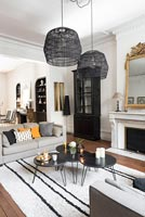 Modern monochrome living room with period details