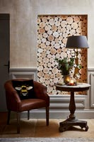 Feature wall - inlaid logs