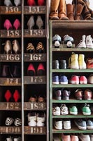 Vintage shelves filled with shoes