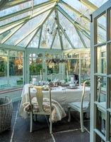 Dining table in Victorian conservatory