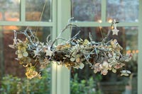 Christmas garland made from twigs and hydrangea flowers