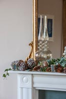Christmas decorations on mantelpiece