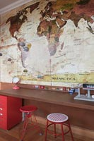 Map of the world feature wall in childrens room