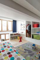 Colourful accessories in modern childrens room