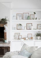 Modern white dresser decorated for Christmas
