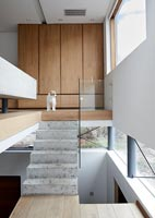 Pet dog at top of concrete steps to mezzanine bedroom