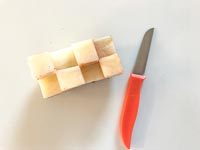 Checkered stamp and knife for decorating