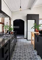 Modern kitchen with patterned floor