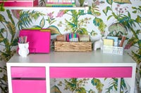 Modern home office with colourful wallpaper