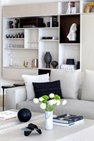 Modern white sofa and built-in shelving unit