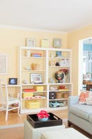Bookcase in pastel living room