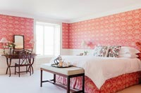 Bedroom with colourful wallpaper
