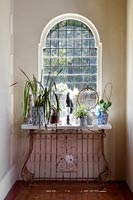 Sideboard filled with houseplants in front of classic arched window