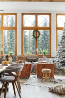 Country dining and living room decorated for Christmas