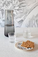 Modern water jug and glasses