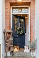 Edwardian front door decorated for Christmas