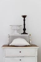 Distressed cupboard with candle holder