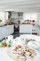 Country kitchen decorated for Christmas